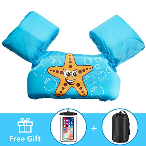 - AmazeFan Kids Swim Life Jacket Vest for Swimming Pool, Swim Aid Floats with Waterproof Phone Pouch and Storage Bag, Suitable for 30-50 lbs Infant/Baby/Toddler