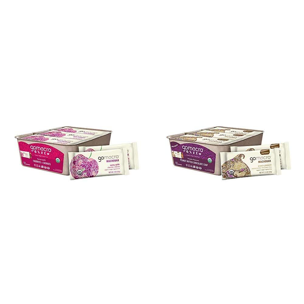 GoMacro MacroBar Organic Vegan Snack Bars - Cherries + Berries (2.0 Ounce Bars, 12 Count) & MacroBar Organic Vegan Protein Bars - Peanut Butter Chocolate Chip (2.4 Ounce Bars, 12 Count)