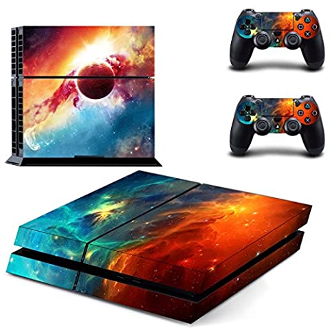 SKINOWN Cosmic Nebular Sticker Skin Decal Cover for Sony PS4 PlayStation 4 Console and Controller - Issue Collectors Plate