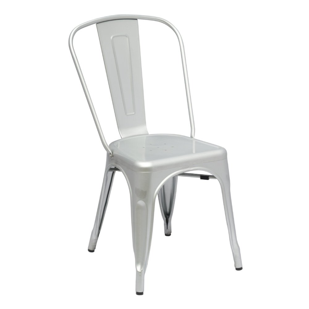 Modern Contemporary Dining Chair, Silver, Metal