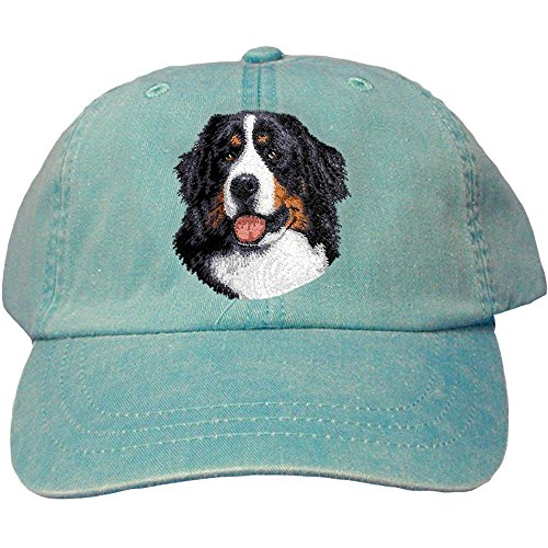 Cherrybrook Dog Breed Embroidered Adams Cotton Twill Caps - Caribbean Blue - Bernese Mountain Dog
