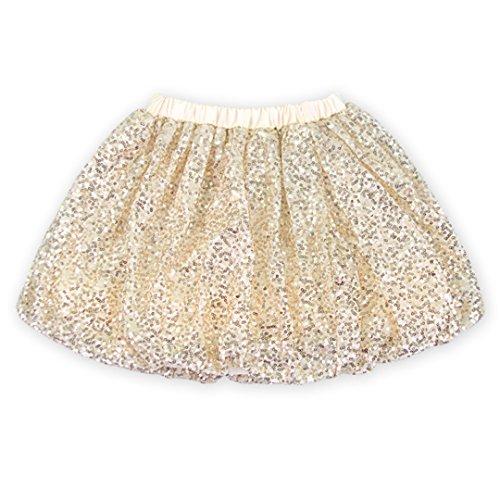 Rush Dance Sparkle Sequin Ballerina Girls Dress-Up Princess Costume Recital Tutu (S (1-2T), Off White)