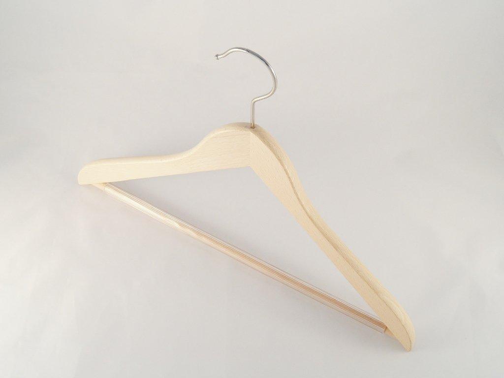flach 38cm Holzbügel für Anzüge und Zweiteiler mit Steg natur 5 Stück NEU