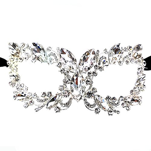 Maru Chunky Clear Crystal Glass, Rhinestone Royal Venetian Masquerade Cat Eye - Glasses With Masquerade Mask