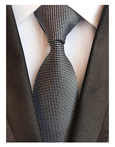 Men's White Black Micro Check Ties Long Regular Wedding Necktie for Young ()
