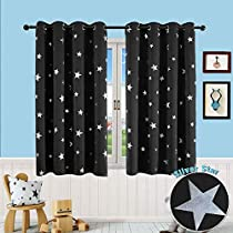 PANOVOUS Blackout Curtains Kids Foil Star Printed Room Darkening Thermal Insulated Curtains for Girls Room 52 x 54 inch 1 Panels Black Curtains