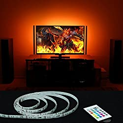 MXTC USB Powered LED Strip Backlight for 32-Inch to 65-Inch Flat Screen TV with 20 Color Option