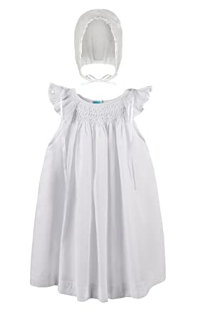 4e8debedb Amazon.com  Suma White Smocked Baby Girl Cotton Dress with Bonnet ...