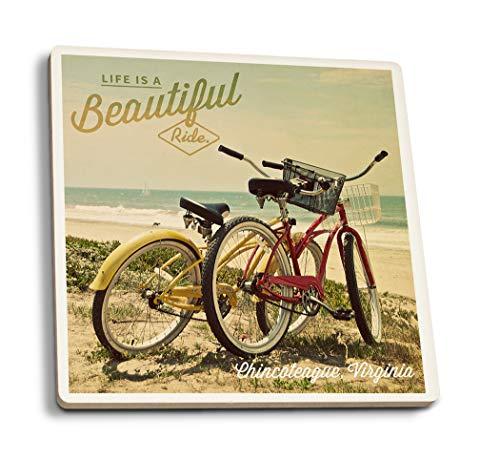 (Lantern Press Chincoteague, Virginia - Life is a Beautiful Ride - Beach Cruisers 99134 (Set of 4 Ceramic Coasters - Cork-Backed,)