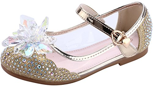 miaoshop Girls Dress Up Shoes Ballet Dance Flat Casual Front Glitter Flower Princess Mary Janes (12.5 M US Little Kid, Gold)
