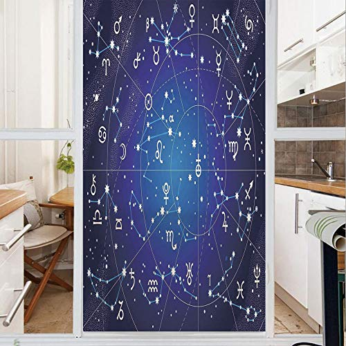 Decorative Window Film,No Glue Frosted Privacy Film,Stained Glass Door Film,Constellation of Zodiac and Planets Original Collection Coordinates of Celestial,for Home & Office,23.6In. by 35.4In Dark Bl