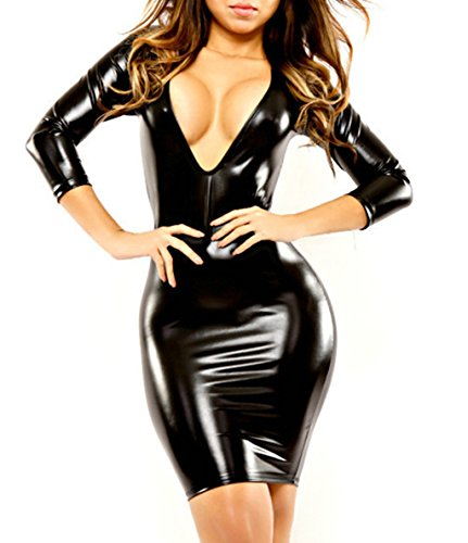 IGIG Women's Wet Look Long Sleeve V-Neck Clubwear Black PVC Leather Bandage Dress Large Exotic Clubwear Dress