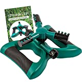 Water Sprinkler System - Lawn Garden Sprinkler Head - Outdoor Automatic Sprinklers for Lawn Irrigation System Kids - Three Arm High Impact Sprinkler System - Up To 3600 Square Feet Coverage