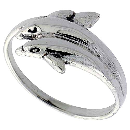 Sterling Silver Double Dolphin Ring for Women 1/2 inch size 10 ()