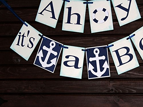 ahoy its a boy banner nautical baby shower nautical banner sign