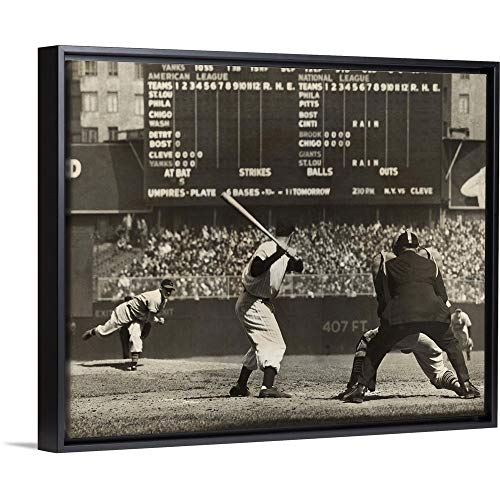 Indians Cleveland Game Pre - CANVAS ON DEMAND Cleveland Indians', Bob Feller, Pitching to New York Yankees' Joe DiMaggio Black Floating Frame.