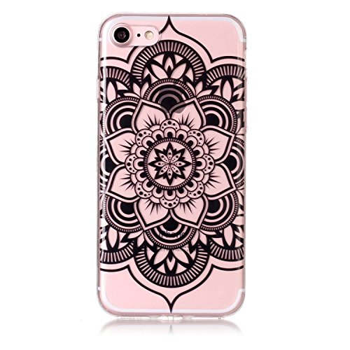 iPhone 7 Hülle, Modisch Schwarze Mandala Transparent TPU Silikon Schutz Handy Hülle Handytasche HandyHülle Etui Schale Schutzhülle Case Cover für Apple iPhone 7