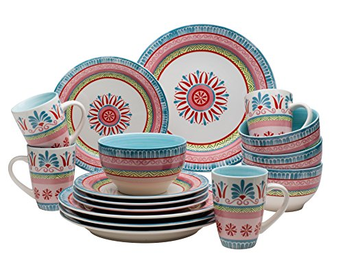 Euro Ceramica Merille Collection 16 Piece Ceramic Dinnerware Set, Service for 4, Spring Medallion Design, (Yellow Floral Plate)