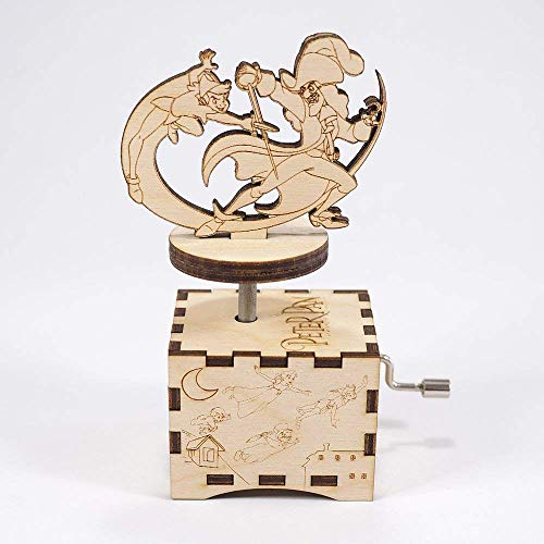 Peter Pan Music Box - You Can Fly! - Personalized engraved gift. Hand cranked mechanism. ()