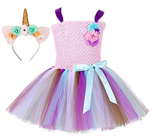 Tutu Dreams Pink and Purple Princess Tutu Dress for Toddler Girls with Unicorn Headband (Pink-2, Small)