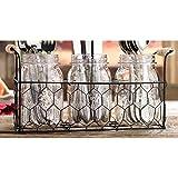 Home Essentials Country Chic Mason Jar Flatware Utensil Dinnerware Tableware Food Storage Holder Caddy in Wire Honeycomb Basket