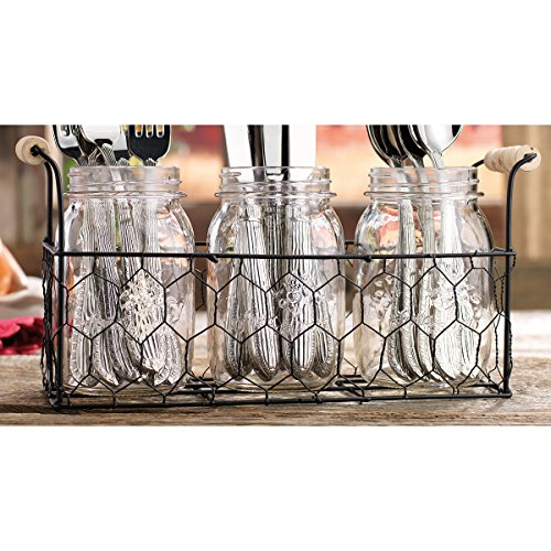 Country Utensil Holder - Home Essentials Country Chic Mason Jar Flatware Utensil Dinnerware Tableware Food Storage Holder Caddy in Wire Honeycomb Basket