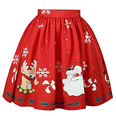 Meihuida Women Christmas Skirt Elastic Flared Pleated A-Line Mini Skater Skirt Xmas Skirts
