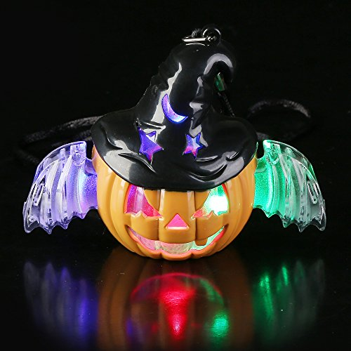 Fun Central BC731, 1 Pc LED Witch O Lantern Necklace, LED Light up Necklace, Glow Halloween Necklace, Pumpkin Necklace, Flashing Necklace, Glow in The Dark Halloween Necklace]()