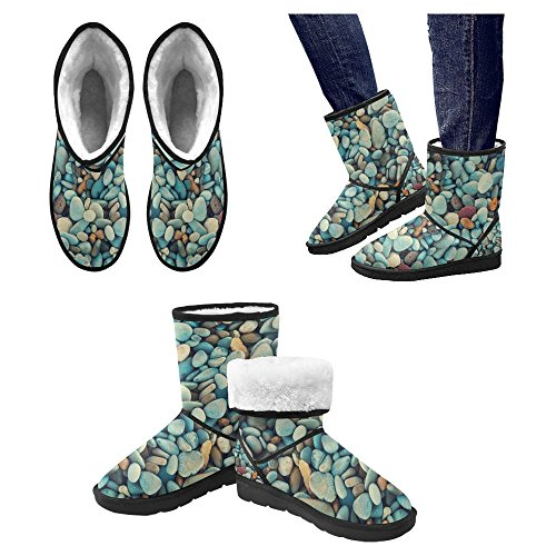 Scarponi Da Neve Womens Interestprint Stivali Invernali Unici Dal Design Esclusivo Stivali Naturali Colorati Ciottoli Multi 1
