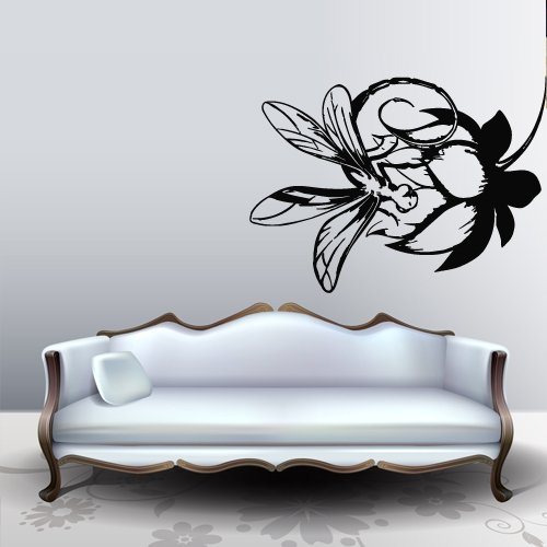 Dragonfly Wings Antique (Wall Decal Sticker Dragonfly Insect Flower Flight Wings Bud bedroom decor M322)