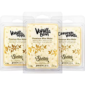Vanilla Wax Melts Variety Pack - Vanilla Bean, Vanilla Maple, Cinnamon Vanilla - New Wax Blend - 3 Highly Scented 3 Oz. Bars - Made With Natural Oils - Vanilla Warmer Wax Cubes