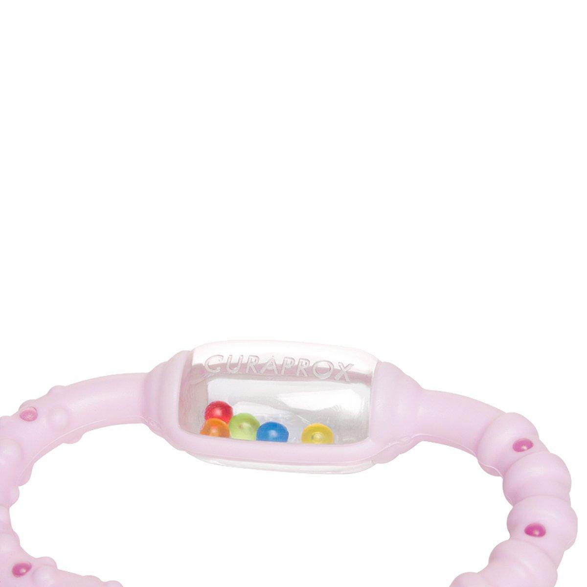 Rillen /& Borsten Curaprox Bei/ßring ideal bei Zahnschmerzen f/ür Babys /& Kleinkinder ab Geburt bis 2 Jahre Noppen Baby-Spielzeug mit Rassel