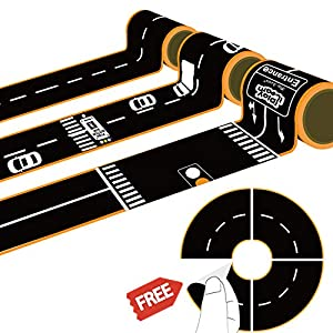 iPlay, iLearn Kids Road Tape Play Set, 3 Rolls DIY Road Track Stickers with Tight Curves, Pretend Play Gift for Cars, Vehicles, Trucks, Creative Toys for Ages 2, 3, 4, 5 Years Old Toddlers Boys Girls