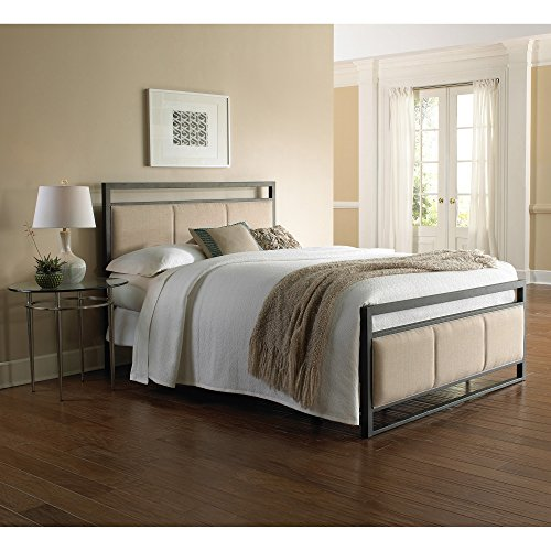 Danville Complete Bed with Squared Metal Tubing and Buckwheat Upholstered Panels, Coffee Finish, California (Wesley Metal Bed)