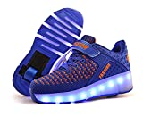 laideqi USB Charging LED Roller Skate Shoes Light Up Glowing Flashing Sneakers for Kids(Blue 1 Wheel 28 M EU/11.5 M US Little Kid)