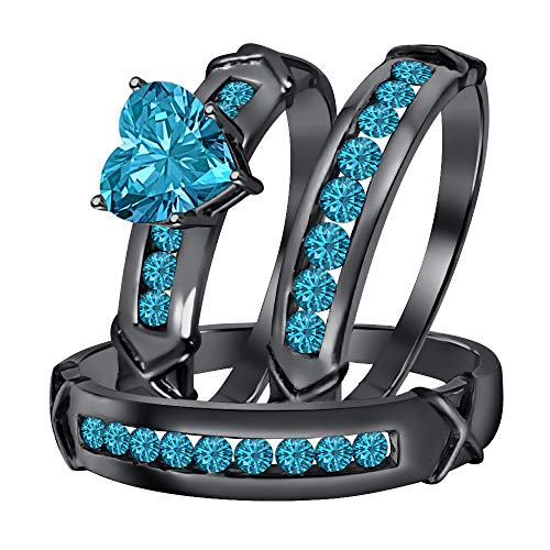 Dabangjewels Engagement & Wedding Ring Trio Bridal Set 3.00Ctw Heart Shaped Swiss Blue Topaz 14k Black Gold for Women's & Men's -