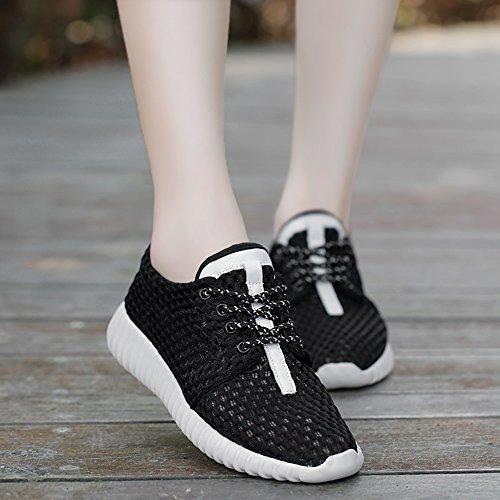 Nan Zapatos de Malla de Desodorante de Verano Zapatos Planos de Mujer Hay Cinco Colores Para Elegir Negro