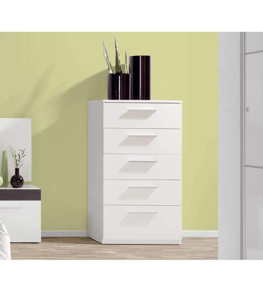 Habitdesign 007825BO - Cómoda chifonier, Color Blanco Brillo, Dimensiones: 60x38x109 cm de Altura