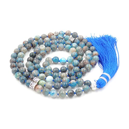Gemstone Mala Prayer Beads Necklace, Tassel Necklace, Handmade Necklace (Apatite) ()