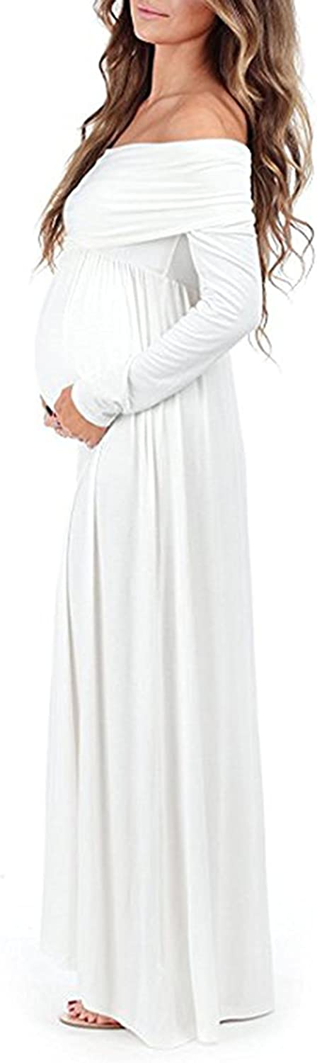 SuperMom Women Over-the-Shoulder Long Sleeves Maternity Dress