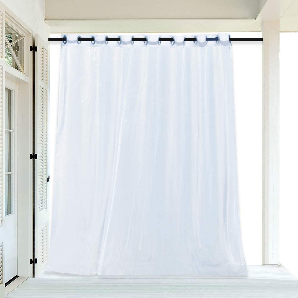 RYB HOME Outdoor Indoor White Sheer Extra Wide Curtains for Patio, Diffuse Sunlight Glare, Light & Airy Voile Drape for Porch/Backyard/Cabana, with 1 Free Rope, Width 100-inch x Length 108 inch