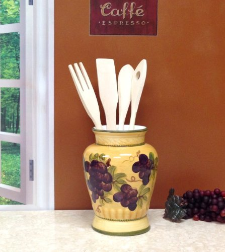 KITCHEN UTENSIL HOLDER WITH TOOLS GRAPE TUSCANY DECOR Home Supply Maintenance -