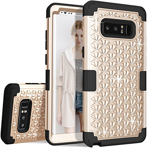 ZAOX Galaxy Note 8 Case - Cute Diamond Studded Bling Rhinestone - Hybrid Heavy Duty Dual Layer Armor Defender Protective Rubber Case with High Impact Shockproof Scratch Proof for Note 8 (Gold Black)