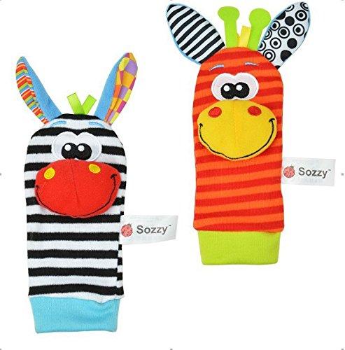 2pcs Baby Rattle Toys Sozzy Garden Bug Foot Socks
