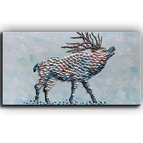 YaSheng Art -24x48inch Deer Oil Painting on Canvas 3D Texture Elk Abstract paintings Modern Animal Painting Home Decor Wall Art for living room Framed Ready to Hang by YaSheng Art