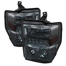 Spyder Auto (PRO-JH-FS08-LED-SM ) Ford F-250/F-350/F-450 Super Duty Smoke Halogen LED Projector Headlight - Pair