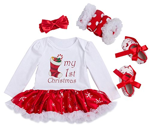 Newborn Baby Girls My First Christmas Costume Party Dress Tutu Outfits Jumpsuit Christmas Socks Pattern for 0-3 Months