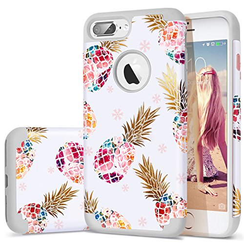 iPhone 7 Plus Case,iPhone 8 Plus Case Pineapple,Fingic Floral Pineapple Ultra Slim Case Hard PC Soft Rubber Anti-Scratch ShockProof Protective Case Cover for iPhone 7/8 Plus (Grey01)