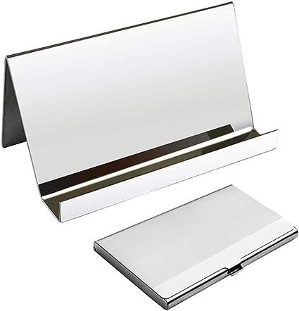 Organizador de tarjetas de presentación Rack, tarjetas de escritorio YuCool Estuche para tarjetas de presentación +1 titular de la tarjeta de presentación de acero inoxidable: Amazon.es: Oficina y papelería