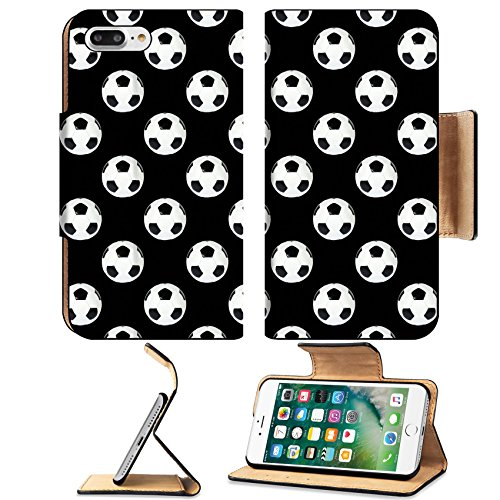 Luxlady Premium Apple iPhone 7 Plus Flip Pu Leather Wallet Case iPhone7 Plus 5126498 texture background black and white soccer ball (White Circle Veil Tulle)